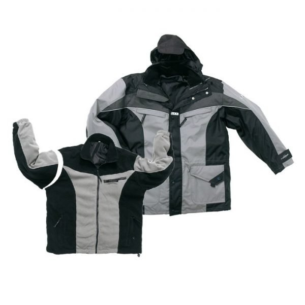 duurzame sportieve parka jas grijs/zwart
