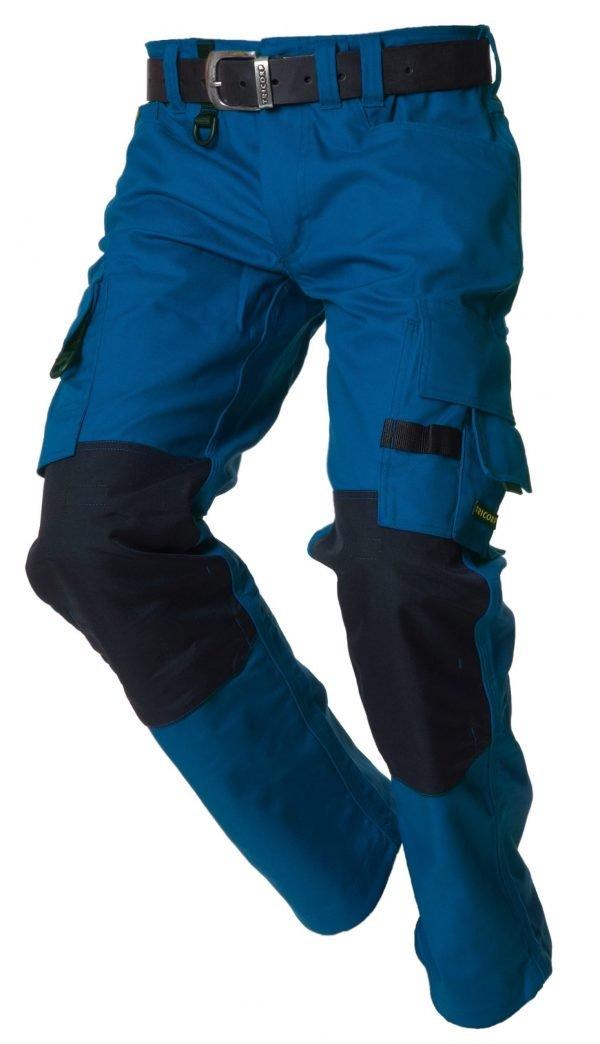korenblauw werkbroek met knie bescherming