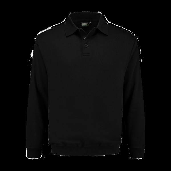 Polo-sweater met tricot zwart