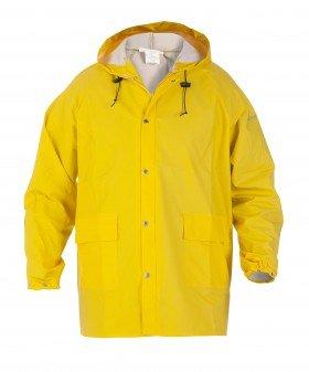 gele regenjack met capuchon
