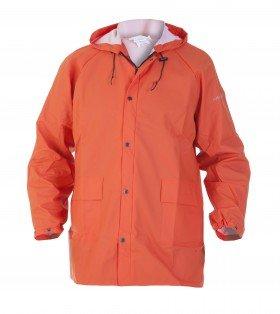 Regenjas met vaste capuchon oranje