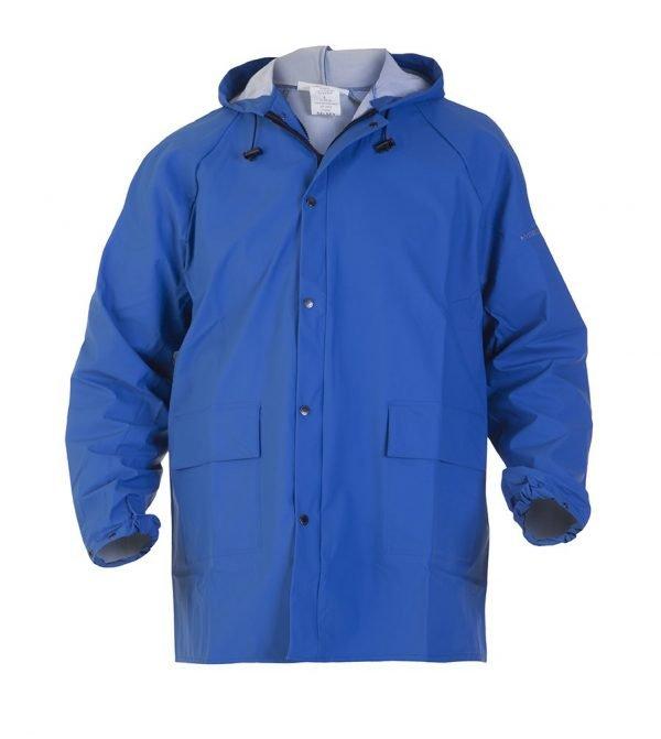 Regenjas blauw met vaste capuchon