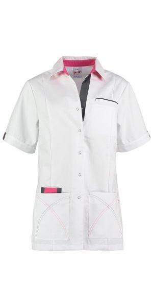 wit met roze dames zorg tuniek in alle maten