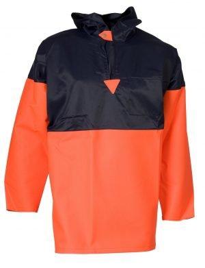 ELKA vissersjas oranje/zwart PVC met capuchon