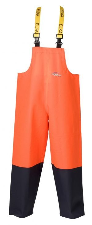 PVC vissersbroek in fluor oranje / marineblauw
