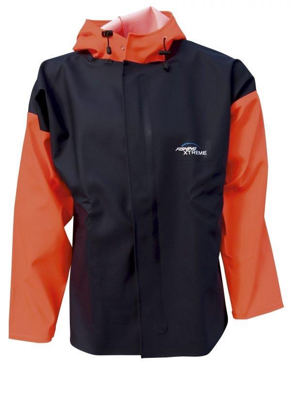oranje met marineblauw regenjas of visserjas met capuchon