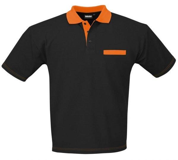 zwarte polo met oranje borstzak