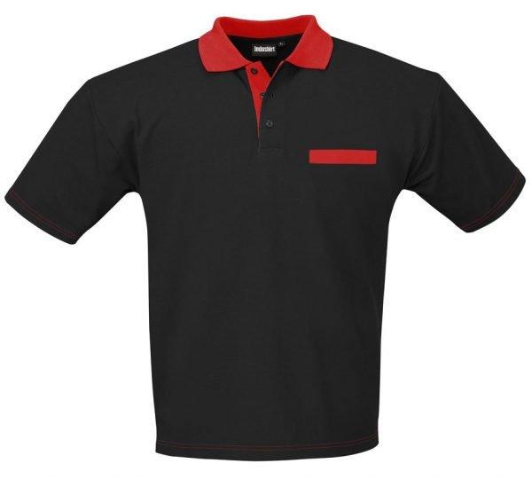 zwarte polo met rode borstzak en kraag