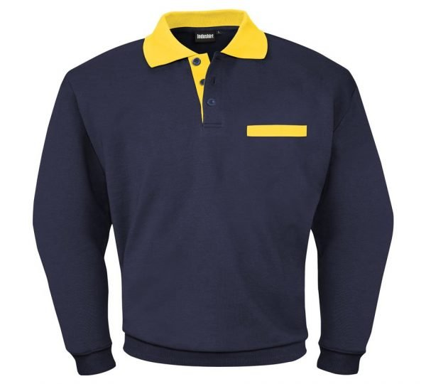 blauw katoenen werk shirt met gele kraag