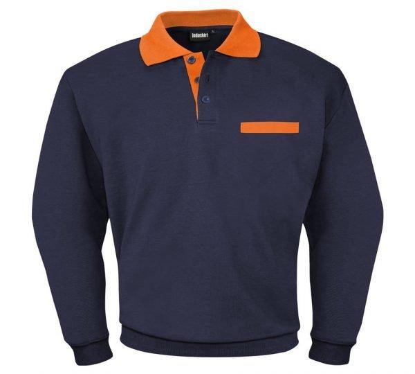 blauw sweater met oranje kraag en borstzak