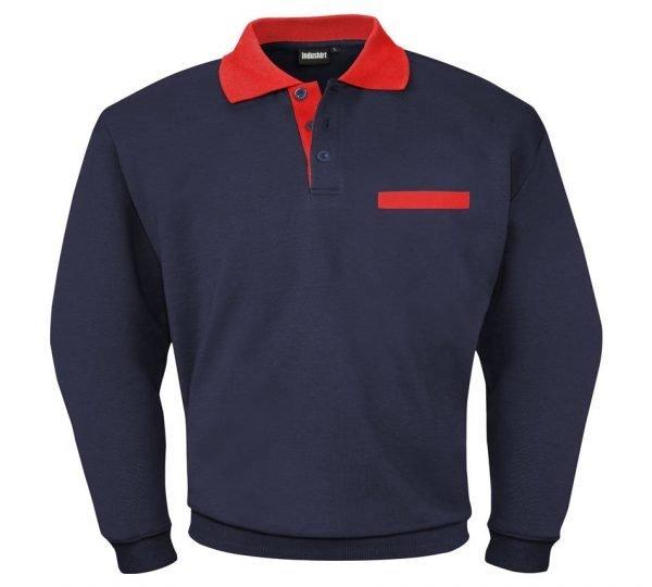 blauw sweater met rode kraag