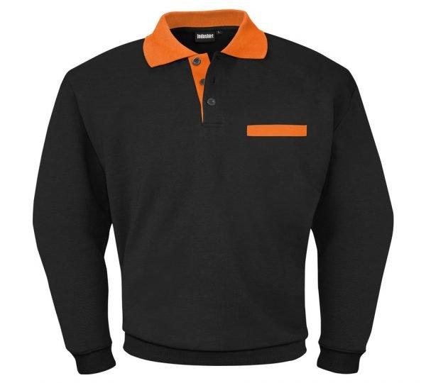 zwarte lange shirt met oranje kraag
