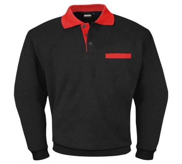 mannen werk shirt zwart met rode kraag