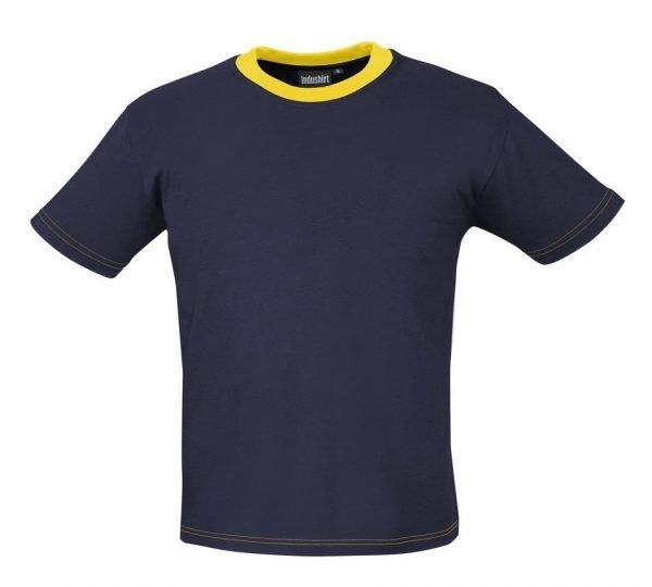 werk shirtje blauw met gele hals