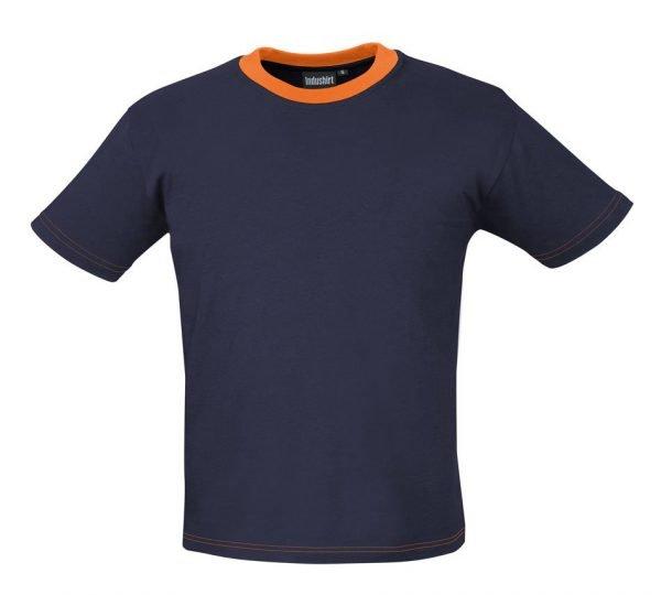 marineblauw shirtje met oranje hals