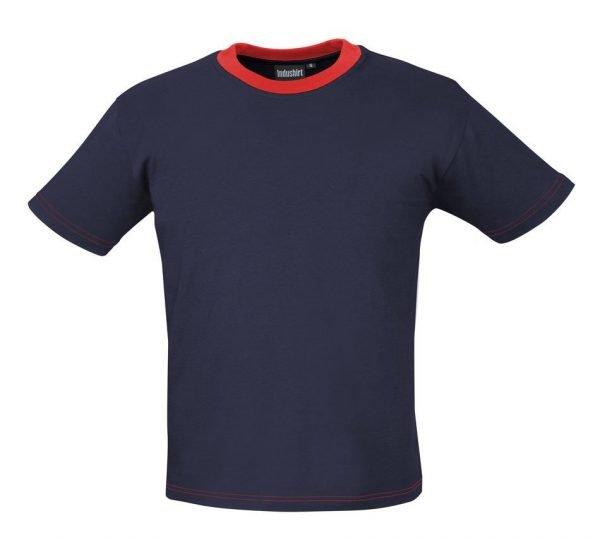 marineblauw shirtje met rode hals