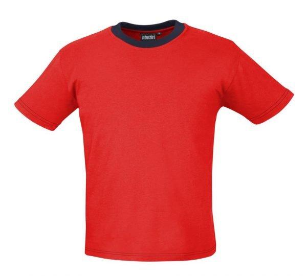 rood werkshirtje met blauwe hals