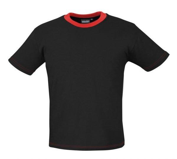 zwarte werk shirt met korte mouwen en rode hals