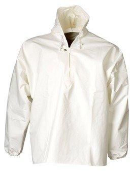 Witte schoonmaak jas met coating tegen vloeibare chemicaliën