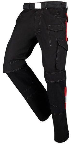 Zwart/Rood slijtvaste werkbroek met Cordura zakken